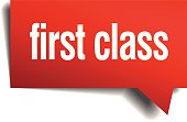 first class red 3d realistic paper speech bubble