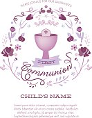 First Communion Invitation Template with Chalice and Abstract Floral Wreath