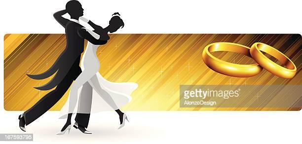 ilustraciones, imágenes clip art, dibujos animados e iconos de stock de primer baile banner - bailar un vals