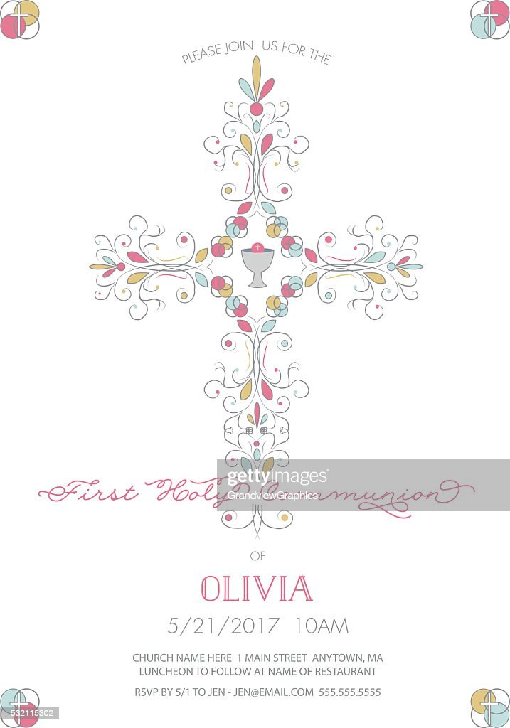 First Holy Communion with Cross Invitation, Card Template