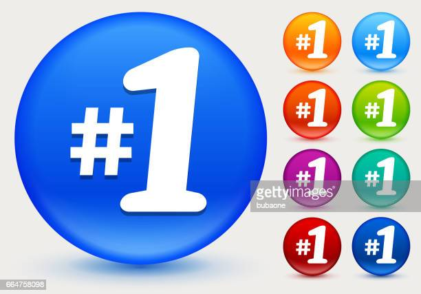 first place icon on shiny color circle buttons - number 1 stock illustrations, clip art, cartoons, & icons