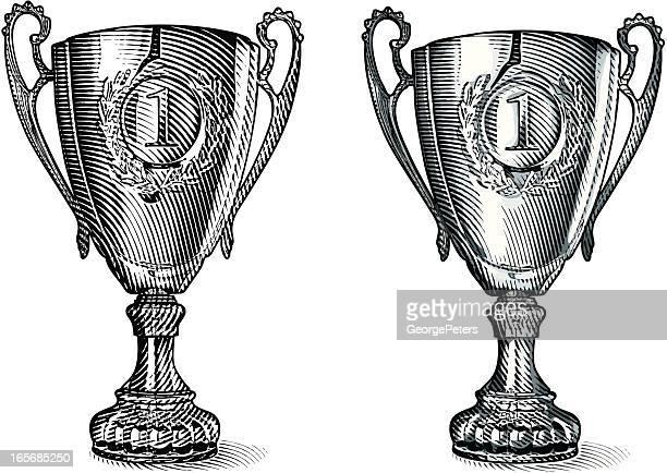 illustrations, cliparts, dessins animés et icônes de premier lieu trophée gravé - trophée