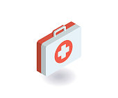 First-aid kit, medicine chest icon. Vector illustration in flat isometric 3D style.