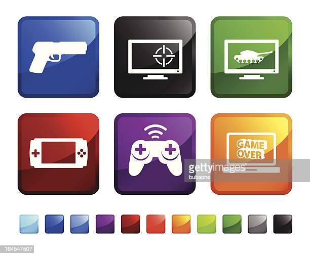 First-person shooter (FPS) video game royalty free vector icon set