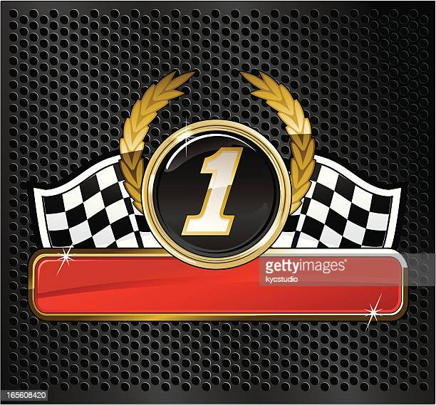 first-place auto racing emblem - rally car racing stock illustrations, clip art, cartoons, & icons