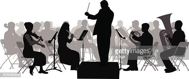 firstviolin - orchestra stock illustrations