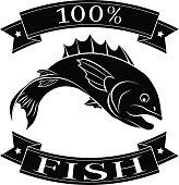 Fish 100 percent food label