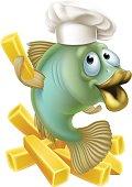 Fish and chips chartoon chef