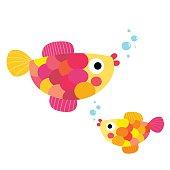 Fish animal cartoon character vector illustration.