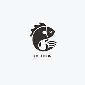 Fish animal template for design. Icon of seafood restaurant. Illustration of graphic flat style