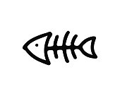 fish bone hand drawn icon