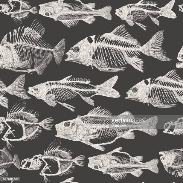 fish bone repeat pattern - animal skeleton stock illustrations, clip art, cartoons, & icons