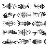 Fish bones silhouettes