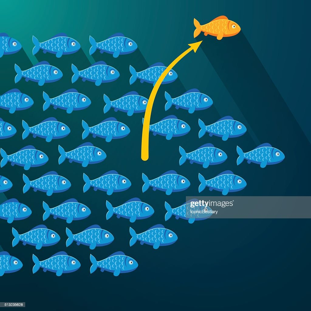 Fish break free from shoal. Entrepreneur concept