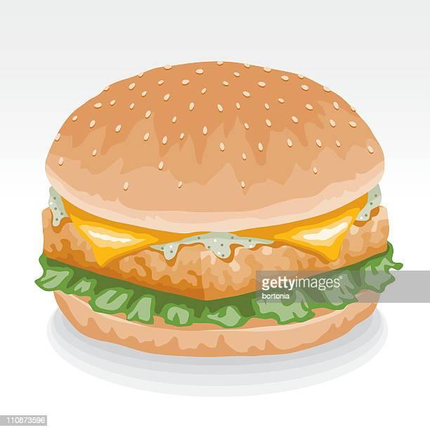 fish burger - fillet stock illustrations, clip art, cartoons, & icons