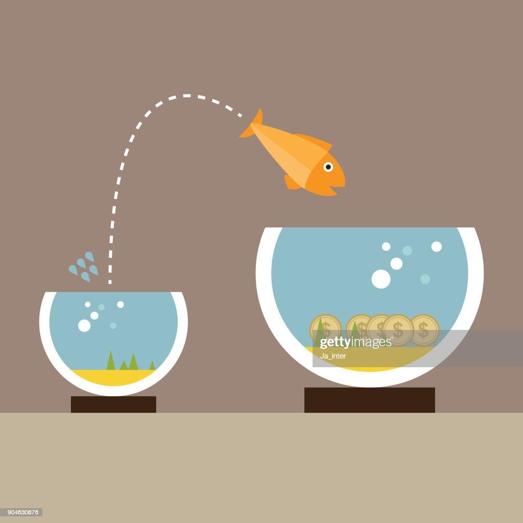 Fish changing aquarium : stock illustration
