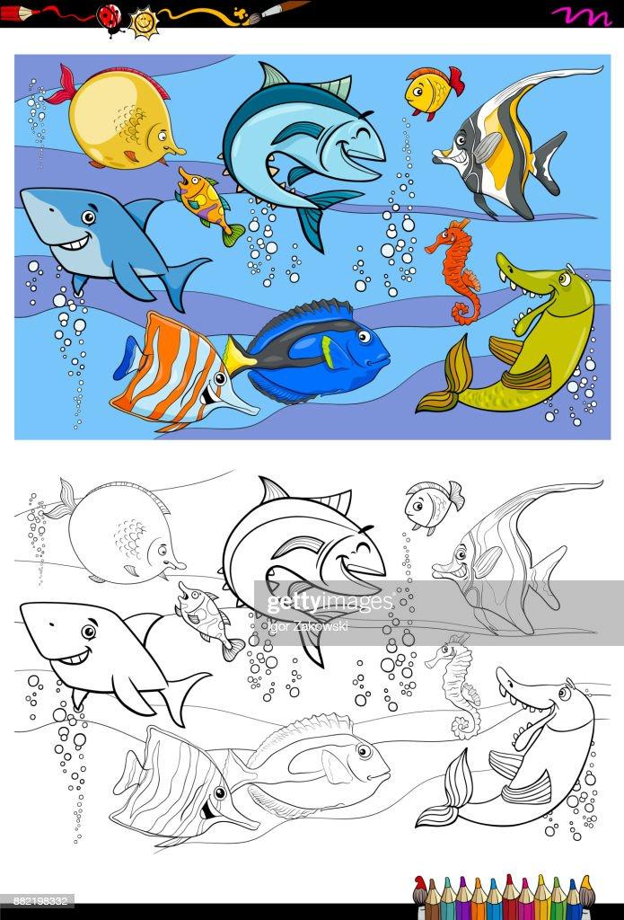 Fischezeichen Gruppe Farbbuch Vektorgrafik | Getty Images