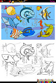 fish characters group color book
