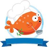 Fish chef cartoon