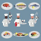 Fish dishes with waiters