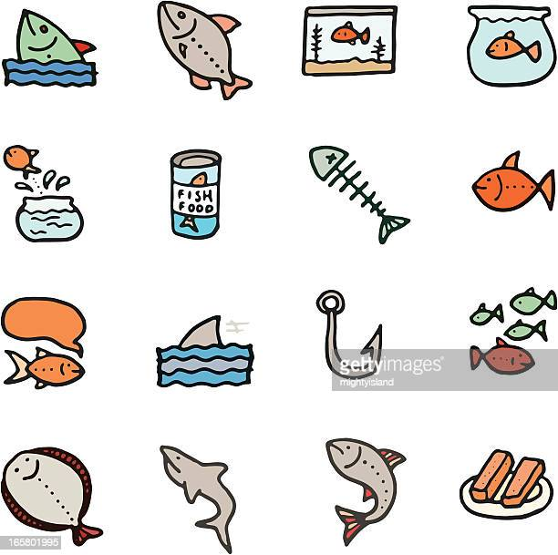 Fish doodle icon set