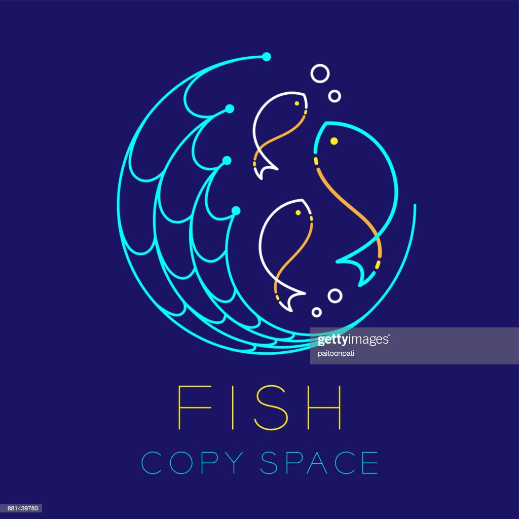Fish, Fishing net circle shape and Air bubble symbol icon outline stroke set dash line design illustration isolated on dark blue background with Fish text and copy space