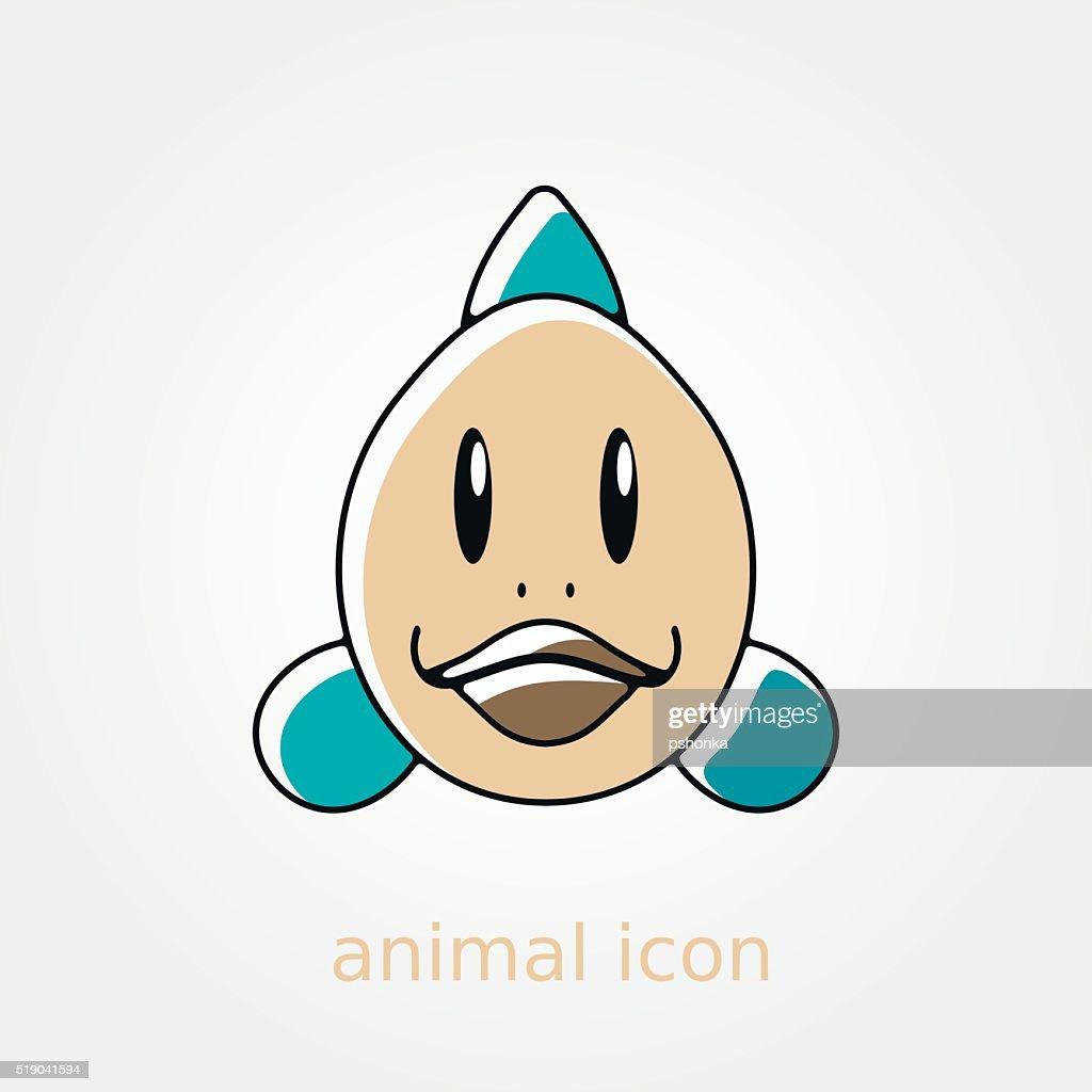 Fish flat icon. Animal head vector illustration