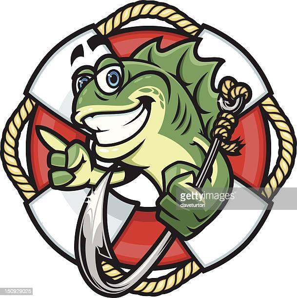 fish hook life preserver - bass fishing stock illustrations