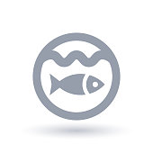 Fish icon. Marine life symbol. Seafood sign.