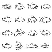 fish icons set. Line with editable stroke
