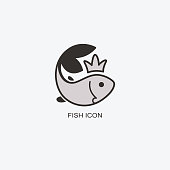 Fish in the crown template for design. Icon of seafood restaurant. Animals in a natural environment. Illustration of graphic flat style