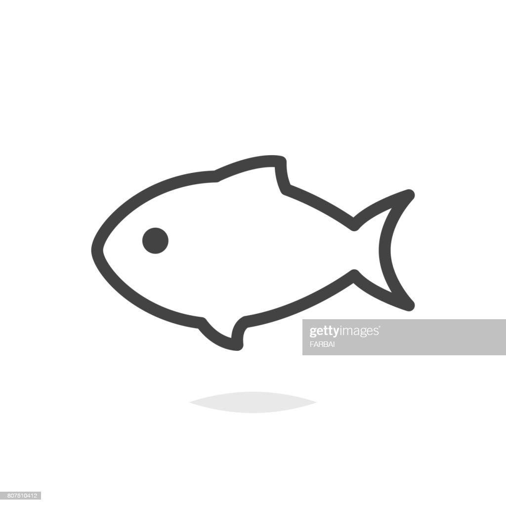 Fish line icon vector