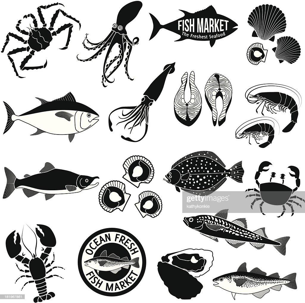 fish market icon set : stock illustration