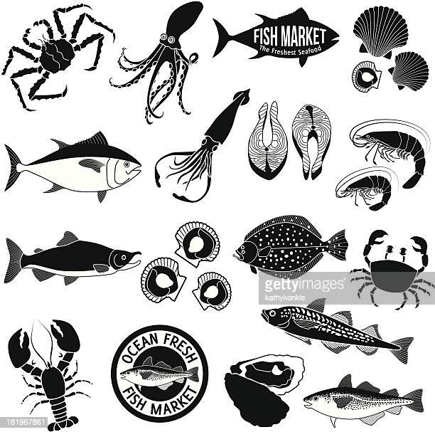 fish market icon set