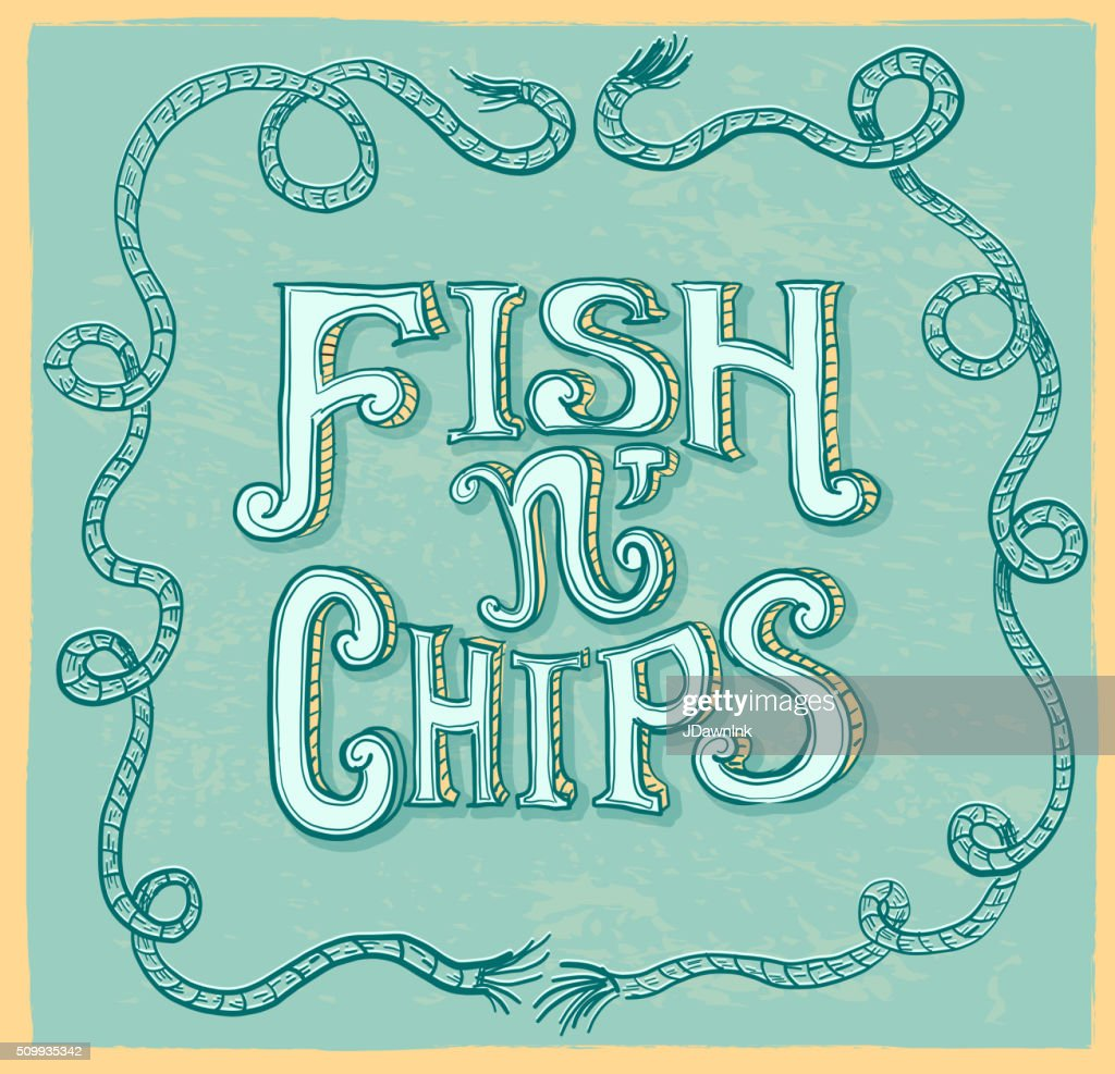 Fish n' chips hand lettering menu item text design