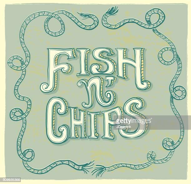 Fish n' chips hand lettering menu item text design