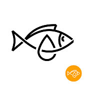 Fish oil icon. Black line style cod liver oil sign.