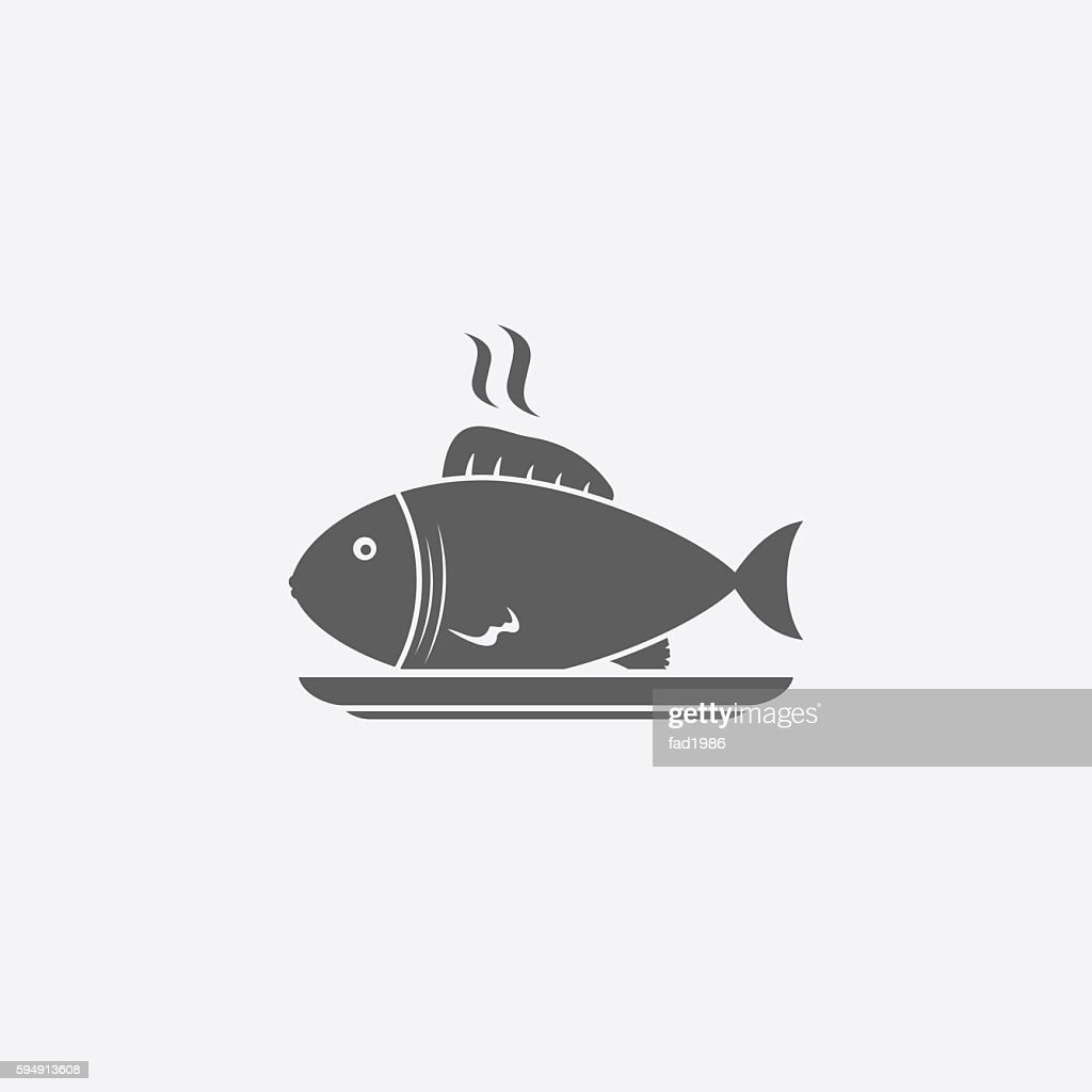 Fish on plate icon