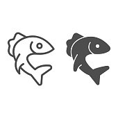 Fish pike line and solid icon, Fish market concept, Pike fishing emblem on white background, Fish icon in outline style for mobile concept and web design. Vector graphics.
