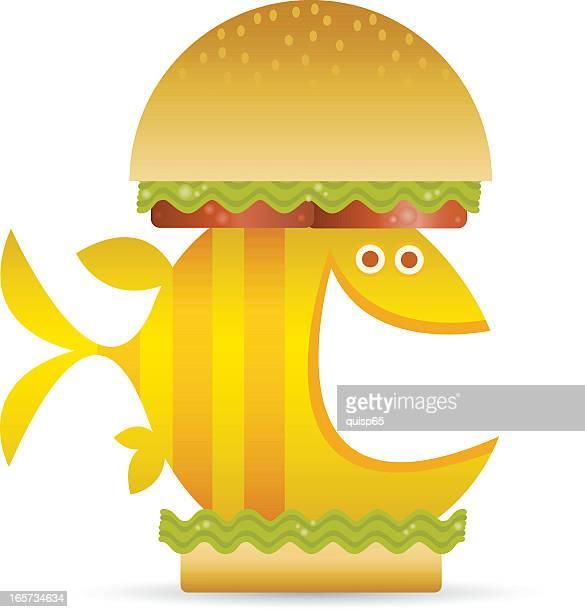 fish sandwich - fillet stock illustrations, clip art, cartoons, & icons