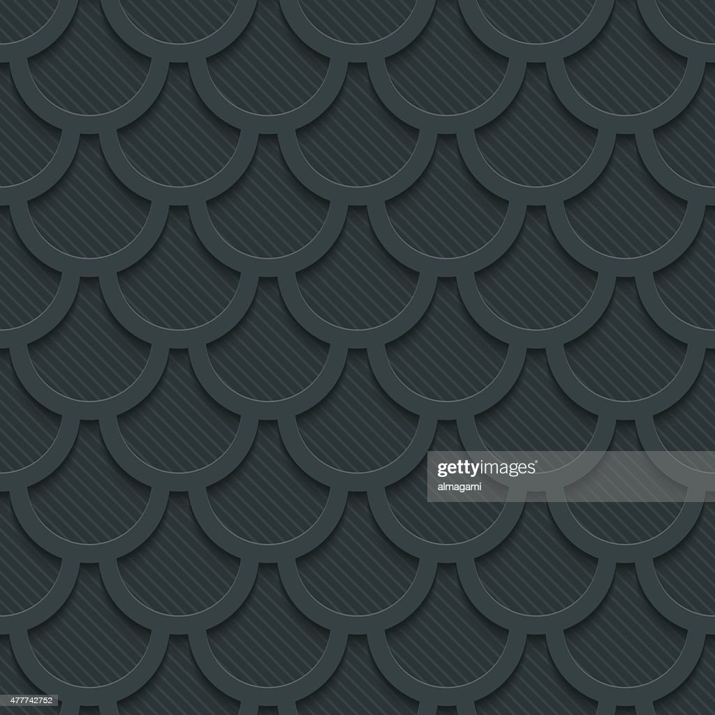 Fish scale dark seamless vector background with 3D effect.