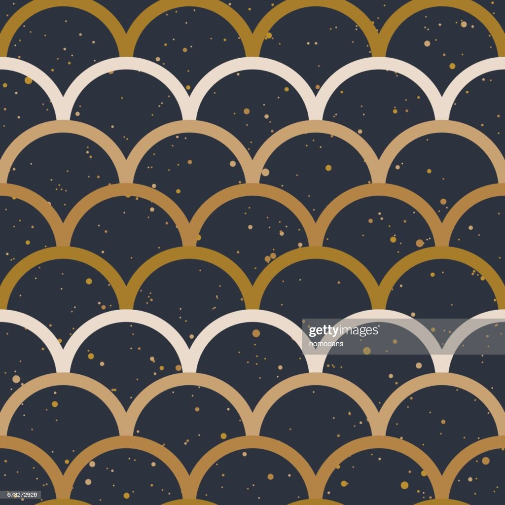 Fish scale japanase seamless pattern vector