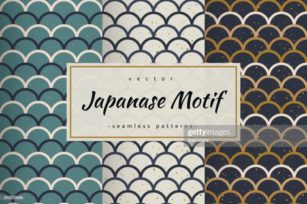 Fish scale japanase seamless patterns vector