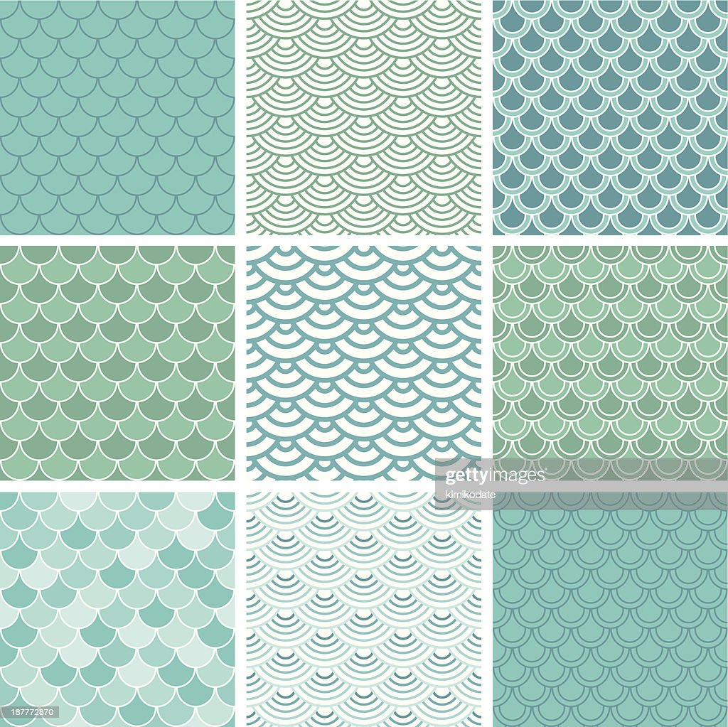 Fish scale seamless pattern set