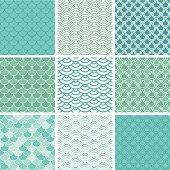Fish scale seamless pattern set