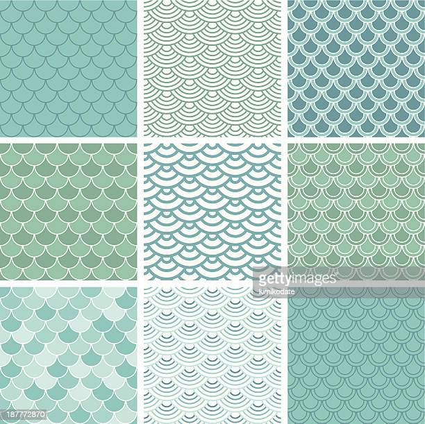 fish scale seamless pattern set - scales stock illustrations