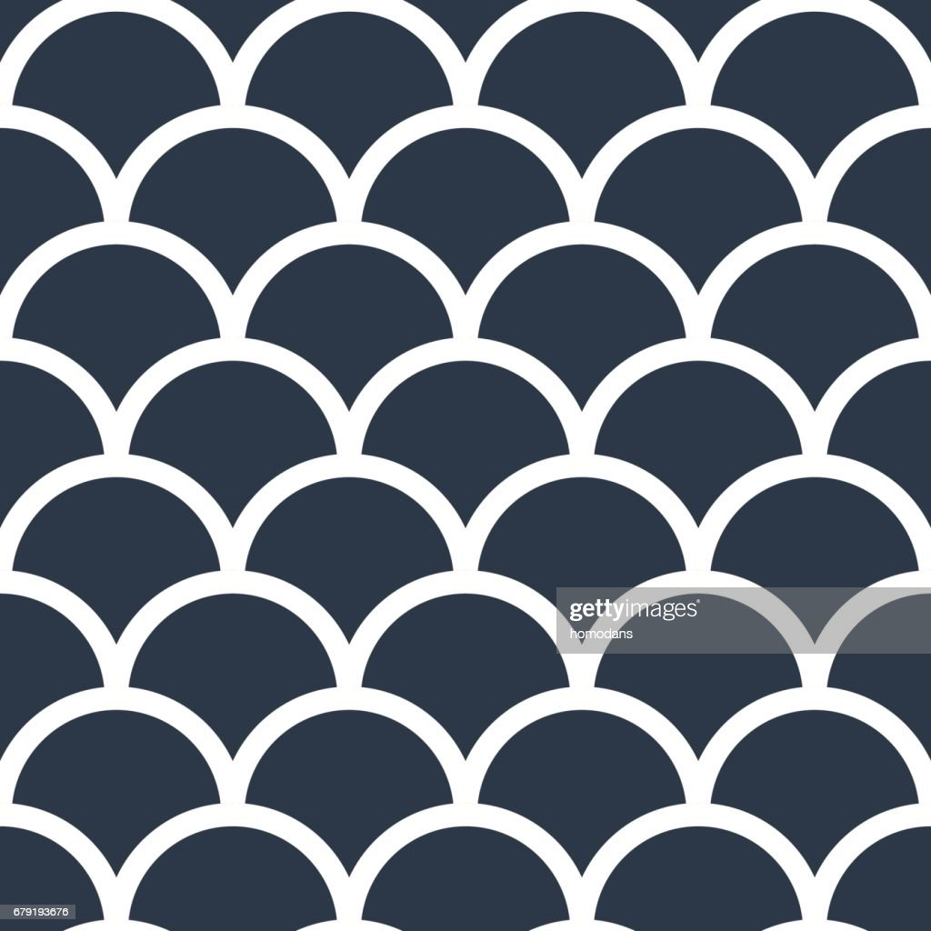 Fish scales japanase seamless pattern vector