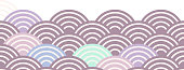 fish scales simple Nature background with japanese rosy pink wave circle pattern violet purple lavender orange colors card banner design on white background. Vector