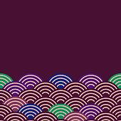 fish scales simple Nature background with japanese sakura flower, Dark claret blue green violet, wave circle pattern card banner design on purple background. Vector