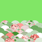 fish scales simple Nature background with japanese sakura flower, rosy pink Cherry, wave circle pattern red beige light green colors card banner design on green background. Vector